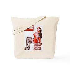 Wink Vintage Brunette Pin Up in Red Tote Bag