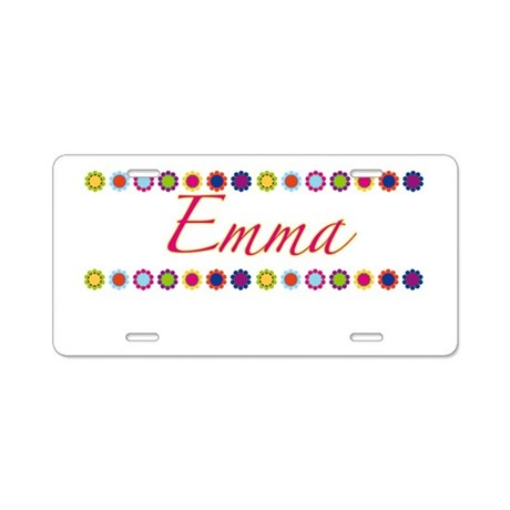 Emma with Flowers Aluminum License Plate
