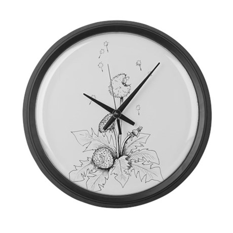 Dandelion drawing Large Wall Clock