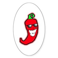 Cool Chili Pepper Oval Decal