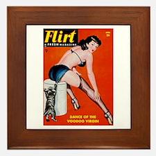 Flirt Pin Up Girl in Black Framed Tile