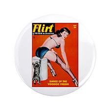 "Flirt Pin Up Girl in Black 3.5"" Button"