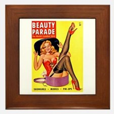 Beauty Parade Pinup with New Hat Framed Tile