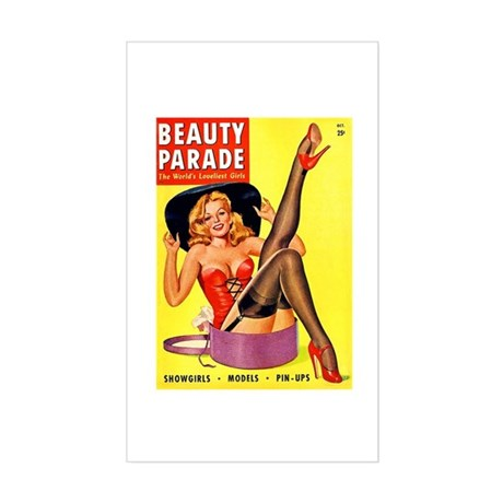 Beauty Parade Pinup with New Hat Sticker (Rectangl