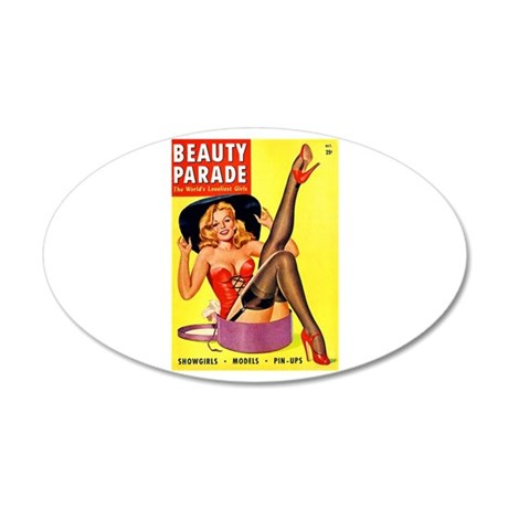 Beauty Parade Pinup with New Hat 38.5 x 24.5 Oval