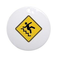 Warning : Stairs Ornament (Round)