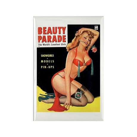 Beauty Parade Pin Up with Rose Rectangle Magnet