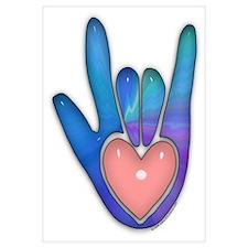 Blue/Pink Glass ILY Hand