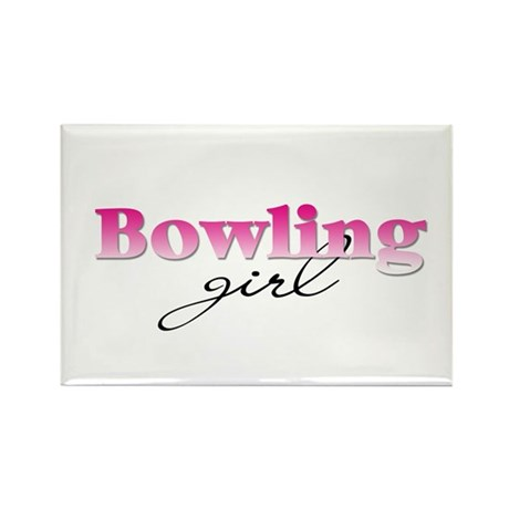 Bowling girl Rectangle Magnet