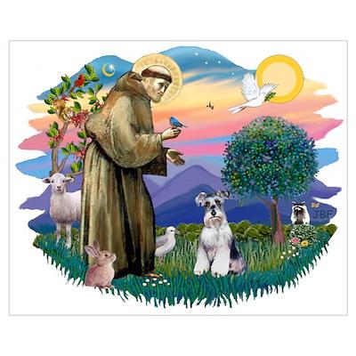 St Francis #2/ Schnauzer #2 Poster