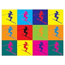 Skiing Pop Art Poster