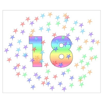 18th Birthday Pastel Stars Poster