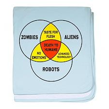 Aliens vs Zombies vs Robots baby blanket