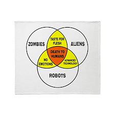 Aliens vs Zombies vs Robots Throw Blanket