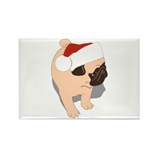 Puppy Santa Hat Rectangle Magnet