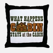 Happens At The Cabin Throw Pillow