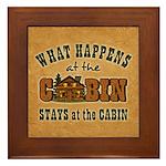 Happens At The Cabin Framed Tile