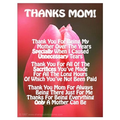 Thanks Mom Esp Poem Canvas Art