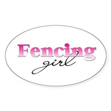 Fencing girl Oval Decal