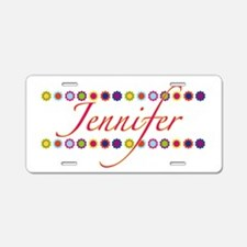 Jennifer with Flowers Aluminum License Plate