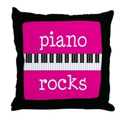 Piano Rocks Music Instrument Throw Pillow
