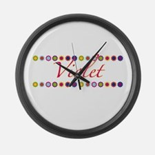 Violet with Flowers Large Wall Clock