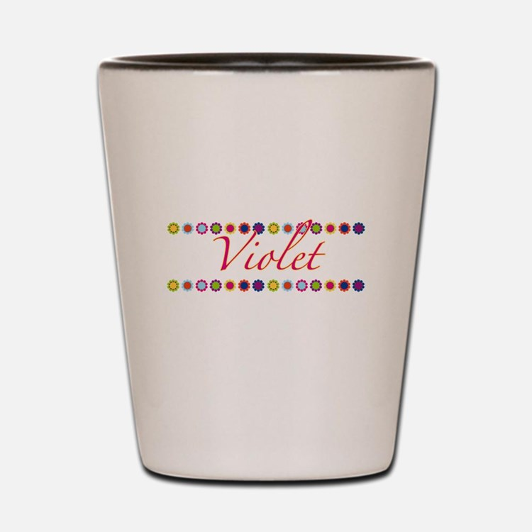 Violet with Flowers Shot Glass