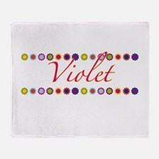 Violet with Flowers Throw Blanket