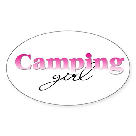 Camping girl Oval Sticker
