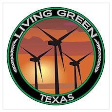 Living Green Texas Wind Power Poster