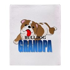 Bulldog Grandpa Throw Blanket
