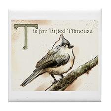 tufted titmouse Tile Coaster