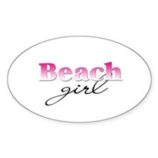 Beach girl Oval Decal