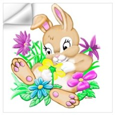 Bunny With Flowers Wall Decal