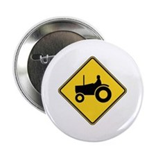 """Warning : Tractor 2.25"""" Button"""