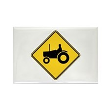 Warning : Tractor Rectangle Magnet