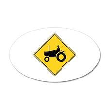 Warning : Tractor 38.5 x 24.5 Oval Wall Peel