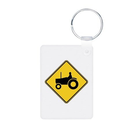 Warning : Tractor Aluminum Photo Keychain