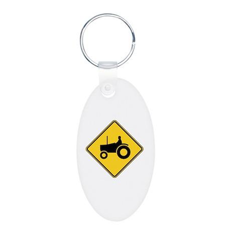 Warning : Tractor Aluminum Oval Keychain