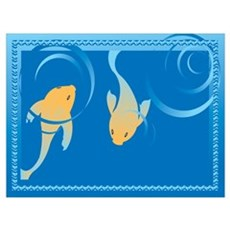 Framed Coy Fish Poster