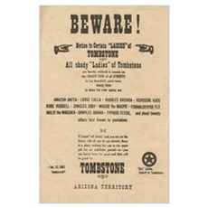 Shady Ladies Tombstone Warning Sign Poster