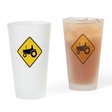 Warning : Tractor Drinking Glass