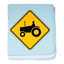 Warning : Tractor baby blanket