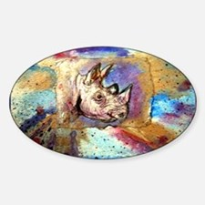Wildlife, rhino, art, Sticker (Oval)