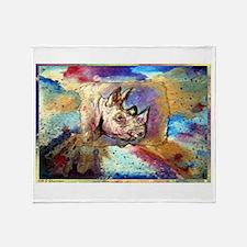 Wildlife, rhino, art, Throw Blanket