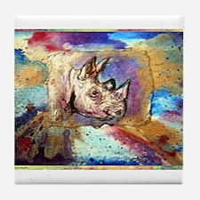 Wildlife, rhino, art, Tile Coaster