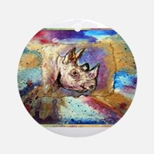 Wildlife, rhino, art, Ornament (Round)