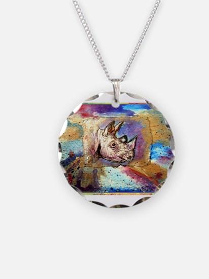 Wildlife, rhino, art, Necklace Circle Charm