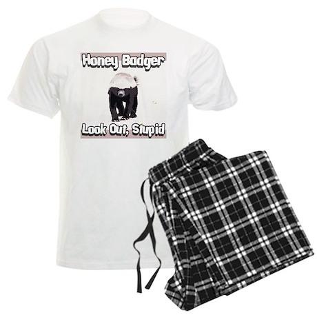 Honey Badger Look Out Stupid Men's Light Pajamas