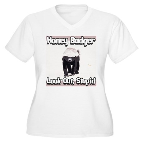 Honey Badger Look Out Stupid Women's Plus Size V-N